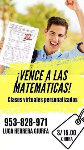 CLASES PARTICULARES MATEMATICA economicas, eficientes resultados buenos