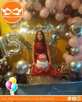 Servicio de decoraacion en arco con bombas para 15 años cumpleaños fiestas y celebraciones