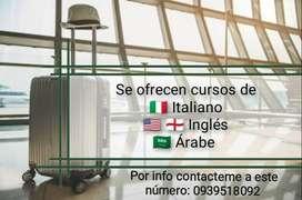 Cursos de habla inglés, italiano y árabe.