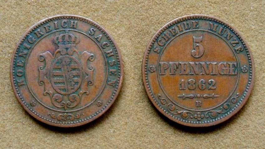 Moneda de 5 pfenninge, Sajonia, Alemania 1862 0