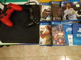PS4 Slim 1Tb, c juegos y joystick