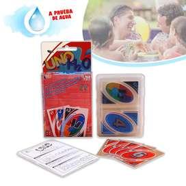 Cartas Uno H2O Sumergibles Agua Plástico Juego Alta Calidad