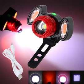 Luz led bicicleta recargable 10w t6 1200lm zoom luz blanco rojo laterales