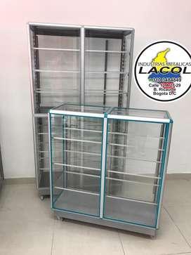 Vitrinas en aluminio y de lujo en solo vidrio ,estanterias,gonolas,supermercados,equipo de panaderia ,latas,bandejas