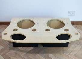 Luneta Acústica de Madera MDF Ford Escort Modelo 96 en Adelante Para 2 Subwoofers de 12 Pulgadas y 2 Parlantes de 6x9