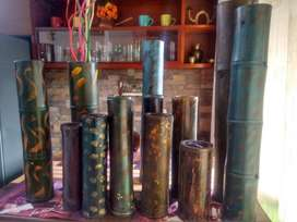 alcancías, floreros, en bambú