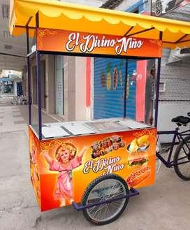 Se vende o se alquila carrito para la venta de comida rápida