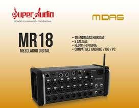 Mezclador digital Midas MR18 controlado por smart phone, tablet y computador