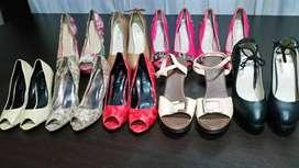 """Lote de tacones de exhibición """"nuevos usados"""" algunos de los zapatos están maltratados por el bodegaje."""