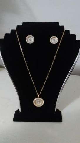 Juego Collar Aretes Oro18k