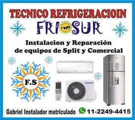 instalación y reparación de equipos split, ventana,piso techo. heladeras no frost y comerciales
