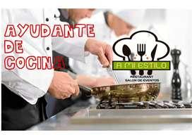 Personal Femenino para Ayudante de Cocina