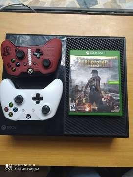 xbox one fat 2 controles + juego fuente de poder nueva