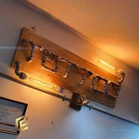 Arte en tuberia, letreros lamparas