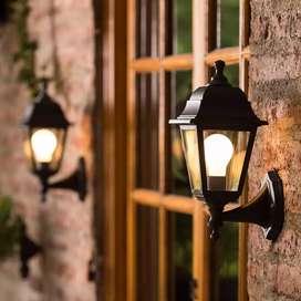 Farol Negro Lámpara De Pared Para Exteriores, Jardín, Finca