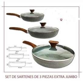 Hermosos Sartenes En Mármol X3 Con Tapa De Vidrio Swisshome