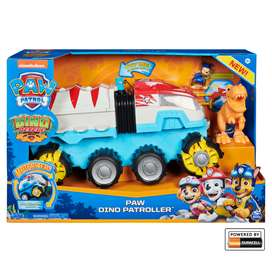 Paw Patrol, Dino Rescue Patroller Vehículo, incluye figura Chase y Rex- (Original, estado Nuevo)