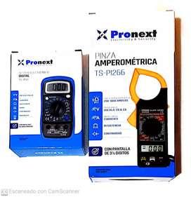 Tester digital con backlight y protector+pinza amperométrica