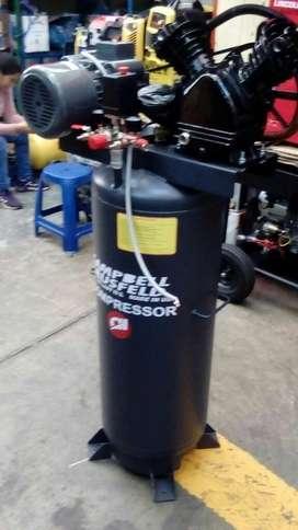 Compresora 100 litros 30 galones 2 hp Doble Cabezal de aire importado