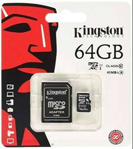 tarjeta micro sd kingston clase 10 (64gb)