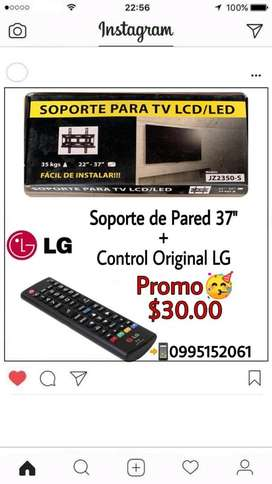 Control LG Original y Soporte de Pared hasta 37""