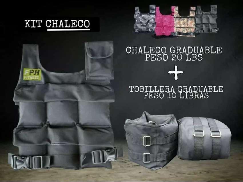 KIT CHALECO 10KL +TOBILLERAS DE 5KL + BANDA TUBULAR DE RESISTENCIA 0