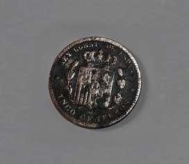 Moneda española de 1877, 5 céntimos, VG