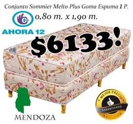 Sommier mas colchon Plus 1 plaza. Cama o Conjunto Somier! EN MENDOZA! WHATSAPP 261- 460- 7416 sm 104