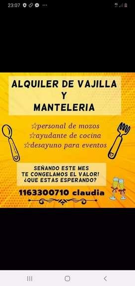ALQUILER DE VAJILLA Y MANTELERIA
