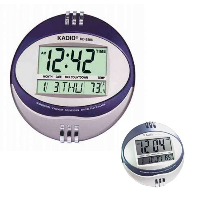 Reloj Digital de Pared Ovalado Alarma Temperatura Fecha Kadio KD-3806 0
