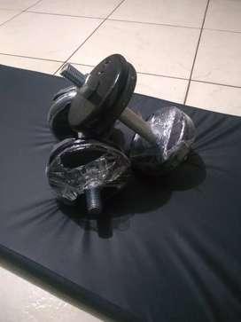 Promoción Kit mancuernas, pesas ajustables 46 libras