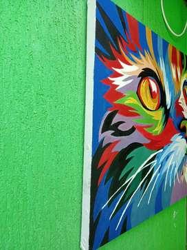 Cuadro pintado al oléo: Gato