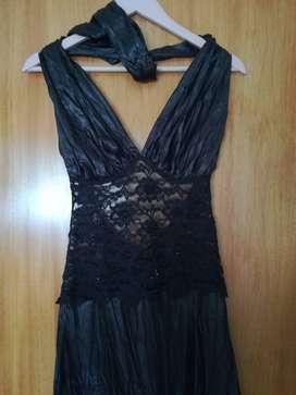 Vestido De Fiesta Largo Negro Talle S Con Encaje Y Canutillos