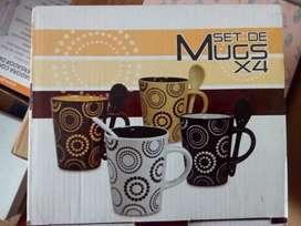 Mugs con cuchara- jarros- tazas  Set x 4