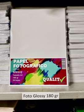 Papel fotografico 180 gramos x20 hojas