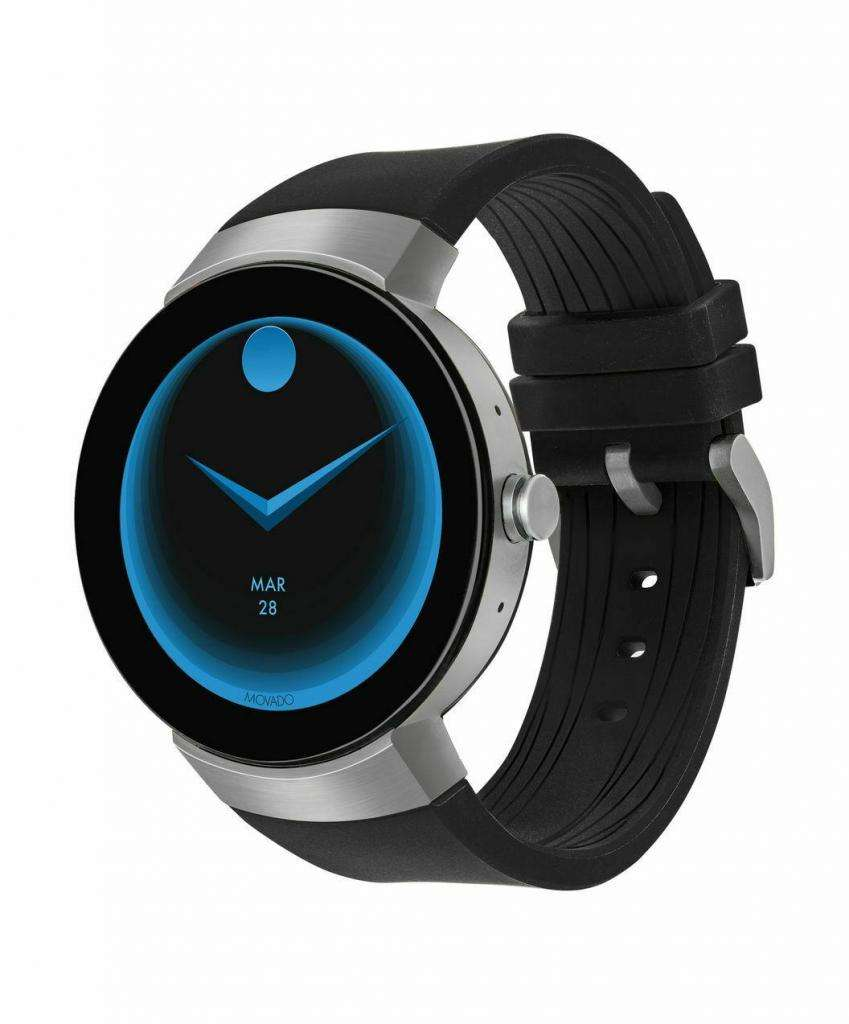 RELOJ HOMBRE SMARTWATCH Movado Unisex Swiss Connect Black Silicone Strap Smart Watch 46.5mm 3660016 0