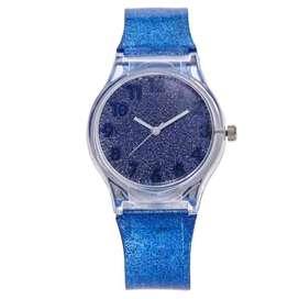 Reloj Plastico con Glitter en color Azul Oscuro envio gratuito