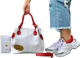 Trio Tenis Zapatillas Deportivo+Bolso+Billetera Mujer Dama Moda Envio Gratis