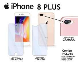 Vidrio Templado Delantero Trasero Cámara Iphone 8 Plus