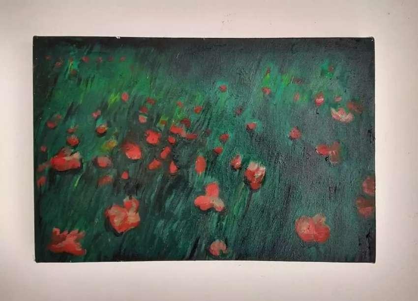 Cuadro al óleo flores rojas decoración arte