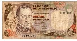 BILLETE  DE  2000  PESOS