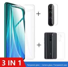 3 en 1 1Protector, 1Vidrio y 1Protector de Lentes, Xiaomi Redmi Note 8 Pro