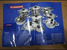 Set de Ollas FLORENCE ITALY de Acero quirúrgico con tapa con termostato de 20 pz.