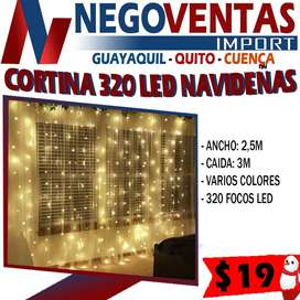 CORTINAS TIPO CASCADA 320 FOCOS LED LUCES DE NAVIDAD 3mX2.50m VARIEDAD DE TONOS PARA ILUMINACION Y DECORACION NAVIDEÑAS