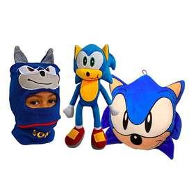 Set x3 Sonic Cojin +Muñeco Peluche 30cm +Gorro Pasamontañas