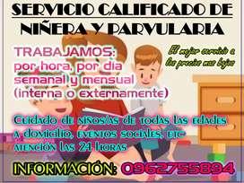 Servicio Calificado de Niñera y Parvularia para niños/as de todas las edades