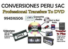 CONVERSIONES DE VHS Y OTROS FORMATOS A DVD - USB - PRECIO PLANO PARA TODO EL PERU - 10.00 SOLES. NO PAGUE MAS