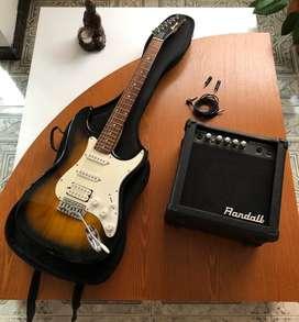 Guitarra eléctrica Vorson + Amplificador Randall + Cable + Estuche