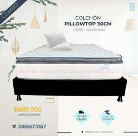 Combo matrimonial! Colchón pillowtop 140x190x30cm + base + 2 almohadas + envío gratis Bogotá.