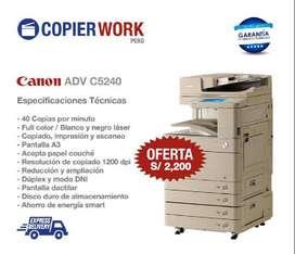 FOTOCOPIADORAS IMPRESORAS CANON ADV C5240 FULL COLOR - LASER A3 - PARA NEGOCIO - ECONOMICA - PAPEL COUCHE Y CARTULINA